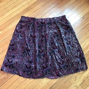 Le Lis Floral Purple Velvet Burnout Skirt Sz 1X
